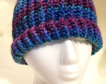 Handmade Crochet Hat Turquoise Blues and shades of Purple Warm