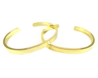 Gold Plated Heavy Duty Engraving Cuff  - (1x) (K420-C)