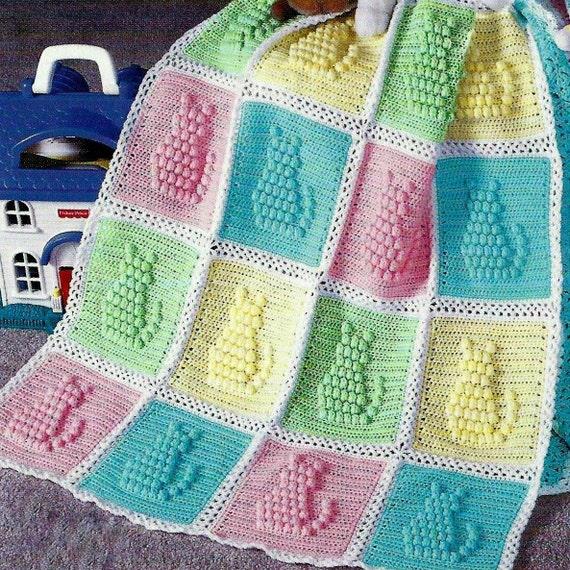 Vintage Crochet Pattern Kitty Cat Afghan