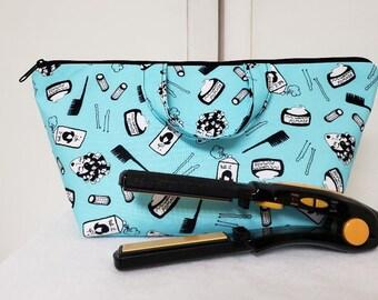 Hair Accessory Bag, Retro Salon Bag, Toiletry Storage Bag, Washable, Retro Gadget Bag, Travel Bag, Retro Cosmetic Bag, Nylon Lining, Padded.