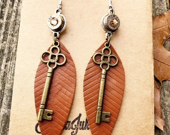 Leather Feather Bullet Earrings
