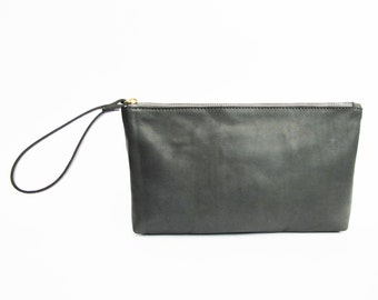 Gray leather clutch - leather wristlet clutch- evening clutch SALE leather clutch purse- zipper clutch- handmade leather clutch bag