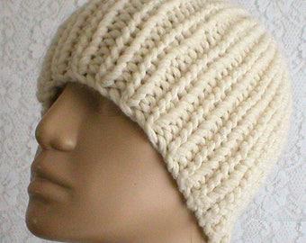 Cream ivory winter white beanie hat, fishermans knit hat, skull cap, knit hat, toque, mens womens hat, winter hat, longshoremans hat, hiking