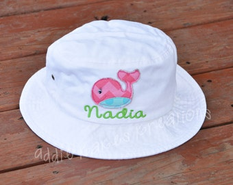 Personalized Whale Sun Hat - Raggy Patch Hat - Personalized Bucket Hat - Baby Sun Hat - Toddler Sun Hat - Adult Sizes - Kids Sun Hat