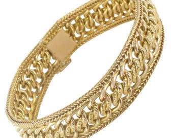 Bracelet flexible bracelet with gold Vintage classic 18K Yellow Gold