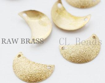 40pcs Raw Brass Stardust Links -  Moon - Crescent 15x10.5mm (1756C-T-149)