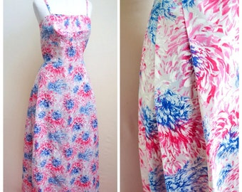 1950s Bullet bust gown with painted Chrysanthemum print in pinks & blues / 50s printed rayon summer full length evening dress - XS S