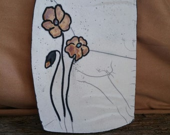 Plate/support tray with flowers