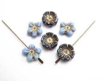 Blue Mix Glass Flower Czech Glass Beads, (6 pcs) Blue Flower Beads, Blue Hawaiian Flower Beads, Daisy Beads, Pansy Beads FLW0317