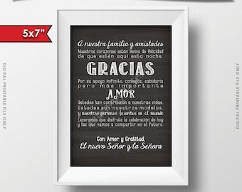 """Wedding Thank You 5x7"""" Card in Spanish, El casarse le agradece cardar en Español, Gracias amigos, INSTANT DOWNLOAD Digital Printable File"""