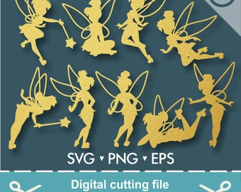 Tinkerbell, Tinkerbell Svg, Tinkerbell Cut Files, Princess, Princess Svg, Cutting files for use with Silhouette Cameo, ScanNCut and Cricut