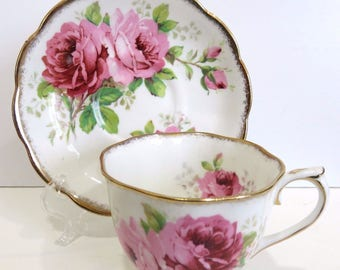 Pink Roses Teacup and Saucer Royal Albert American Beauty England Excellent Vintage FREE DOMESTIC SHIPPING