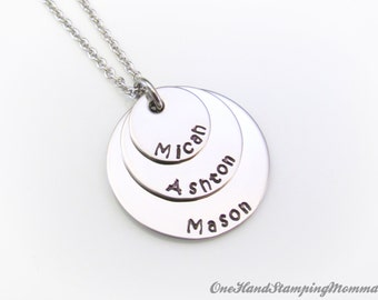 Hand Stamped Jewelry - Personalized Necklace - Personalized Mom Necklace - Hand Stamped Necklace