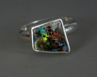 Australian boulder opal ring / October birthstone / boulder opal jewelry / opal jewelry / ready to ship / men's ring / women's ring / size 8