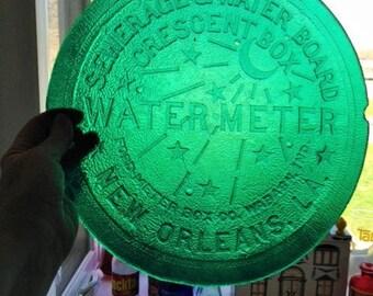 New Orleans watermeter heavy duty plastic suncatcher stained glass appearance hanger on back side