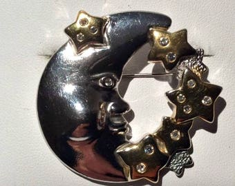 Vintage Gold and Silver-tone Moon and Stars Brooch
