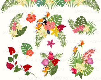 "Tropical clipart: ""Tropical Flowers Clipart"" with exotic flowers clipart, jungle clipart, tropical leaf, 10 images, 300 dpi. PNG, EPS files"