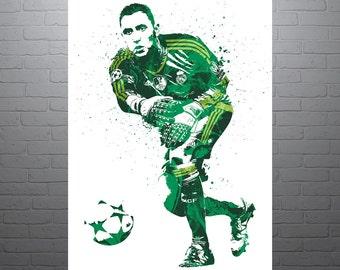 Keylor Navas Real Madrid Soccer Poster, Sports Art Print, Football Poster, Watercolor Contemporary Abstract Drawing Print, Modern Art