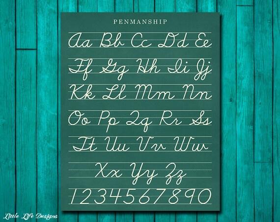 classroom decor  cursive alphabet letters  classroom sign