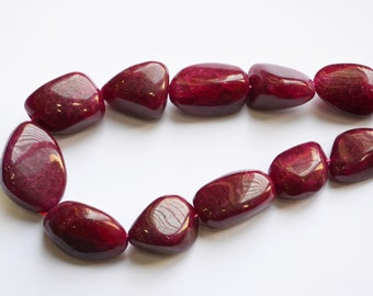 Ruby Quartz Smooth Nuggets, 8 inch Strand