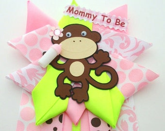 Monkey Girl Baby Shower Corsage - Pink and Lime Green - Ready To Ship