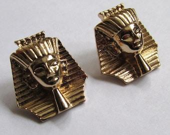 Gold tone earrings Tut ankha mun. Africa earrings. Egyptian Pharaoh the boy King of Egypt stud. 1 inch x 1 inch UK SELLER.