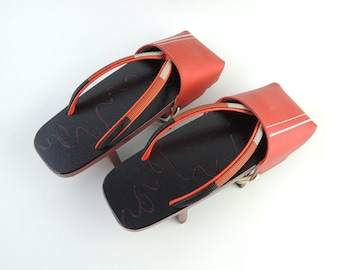 Vintage Japanese Lacquered Wooden Shoes, Geta for Rainy weather