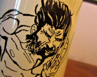 Hand painted Wolverine Mug, single piece, ceramics, marvel, black and white, gift idea, breakfast, collection