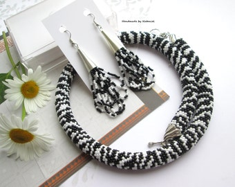 Zebra Beaded Statement choker Bead Crochet Necklace Black white jewelry Strips Office style Animal Print Gift for her Gift birthday For mom