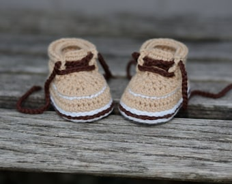 Crochet Baby Boots, Baby Boy Boots, Tan Lace-Up Boots, Crocheted Boots, Booties, Baby Gift, Forrester Boots