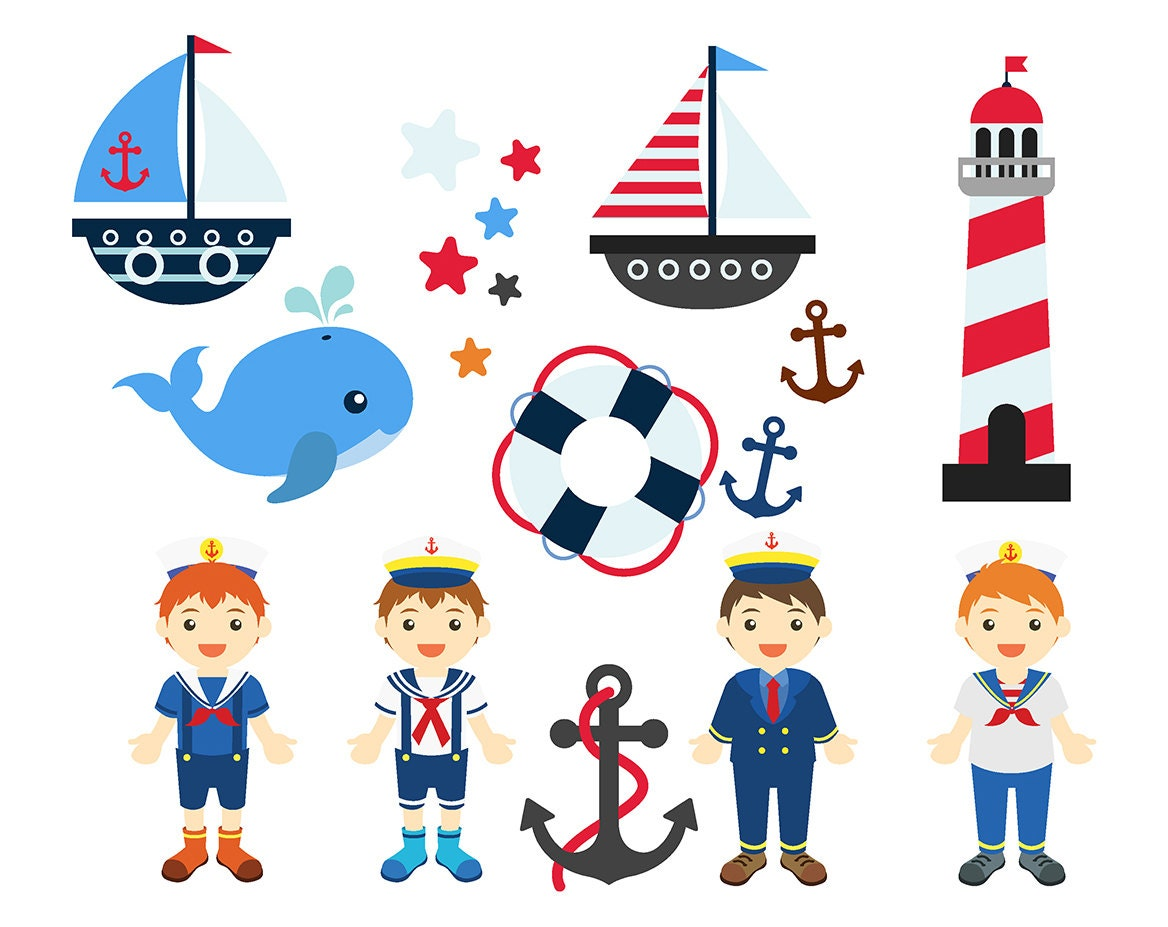 sale nautical boys clipart set clip art anchor whale lighthouse rh etsystudio com