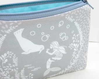 Small Zipper Pouch, Calypso Mermaid and Sea Lion, Pale Gray and Turquoise, Coin Purse