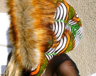 Multi-coloured African Print Hood with Super Soft Black and Reynard Faux Fur Trim