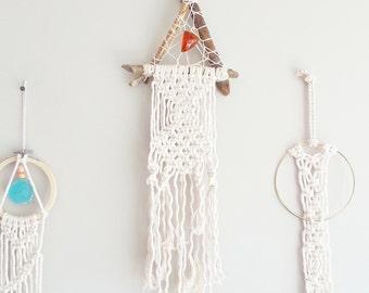 Dream Catcher- DreamCatcher- Amber Wall Decor- Wall Accent- Bohemian decor- Boho Decor- Modern Macrame- Hippie Home Decor- Mermaid- Triangle