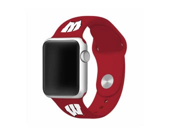 Wisconsin Badgers Silicone Sport Band Fits Apple Watch™ - WATCH BAND ONLY - Officially Licensed