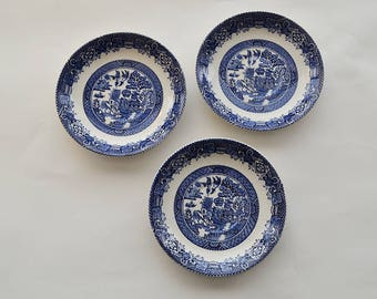 Set of 3 Antique Woods Ware Blue Willow Enoch Saucers 1920s Wood & Sons England Pottery, Fine China