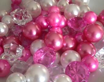 Vase Filler Pearls U0026 Diamond Gems 90pc White/Pink/Hot Pink In Mix Size