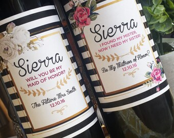Black and White Striped, Flower Wedding Party Proposal Wine Label  // Will you be my Bridesmaid/Maid of Honor? // Thank You Gift //