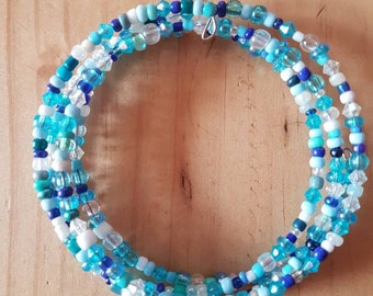 Beautiful spiral beaded bracelet in shades of blue.