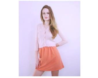 Super Cute 70s Peachy Orange High Waist Mini Skirt Size Small / Medium