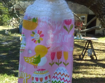crochet top towel, Easter dish towel, Easter towel, egg towel