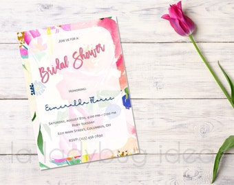 Bridal Shower Invitation, printable, Floral watercolor pink Bridal Shower Invitation. Bachelorette party invitation. Pink and blue color.