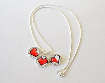 Pixel Heart Glass Necklace