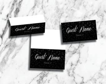Winter Wonderland Wedding Reception Place Cards Folded or Flat (Digital Download, Printable, Fully Custom!)