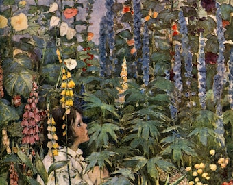 FIRST Edition. Among The Foxgloves.  Jessie Wilcox Smith  VINTAGE llustration. Digital Garden DOWNLOAD.