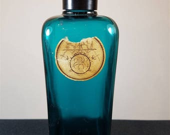 Vintage Hermes Perfume Cologne Bottle Turquoise Glass with Black Bakelite Top Lid and Original Label