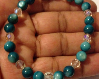 Blue river shell bead bracelet; beaded jewelry; beaded bracelet