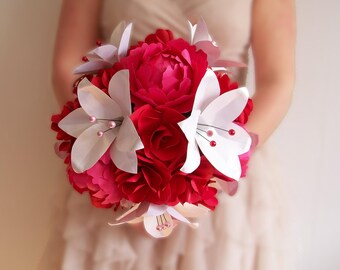"Bridal bouquet ""Glamour"" composed of Red peonies, Roses and lilies white pearls and paper Roses"