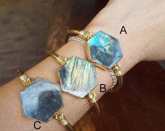 Labradorite Cuff Brass Bracelet
