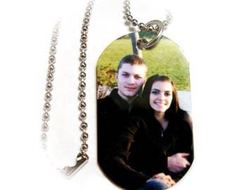 1 Sided Photo Dog Tag Pendant Necklace With Ball Chain